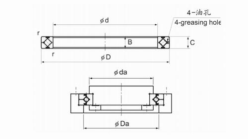 RA系列交叉滚子轴承结构图